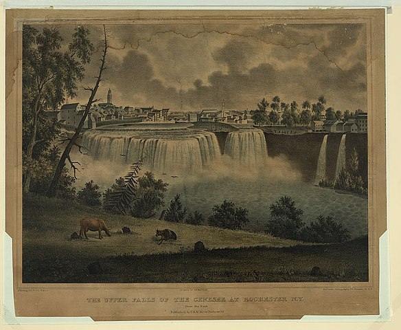 A 1836 lithograph of Genesee Falls in Rochester, New York.