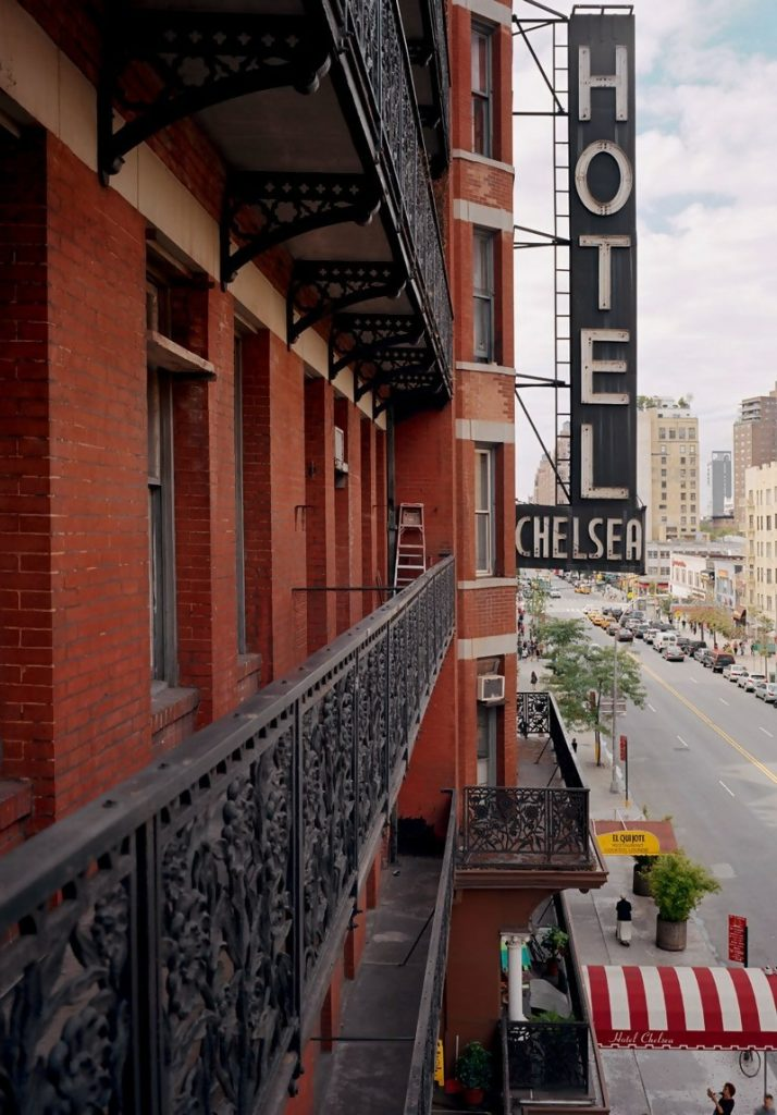 hotel chelsea, a view of the sign from a balcony