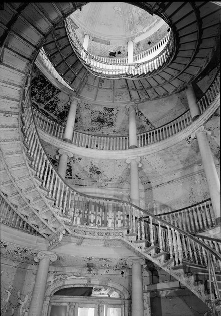 black and white photo of Staircase of the Insane Asylum at Roosevelt Island