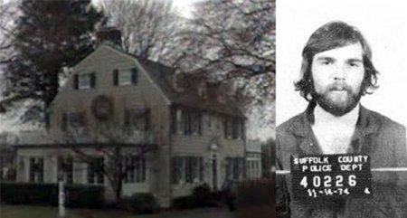 photo shows the amityville horror house on the right, and Ronald DeFeo Jr, the man who killed his family inside the house on the right.