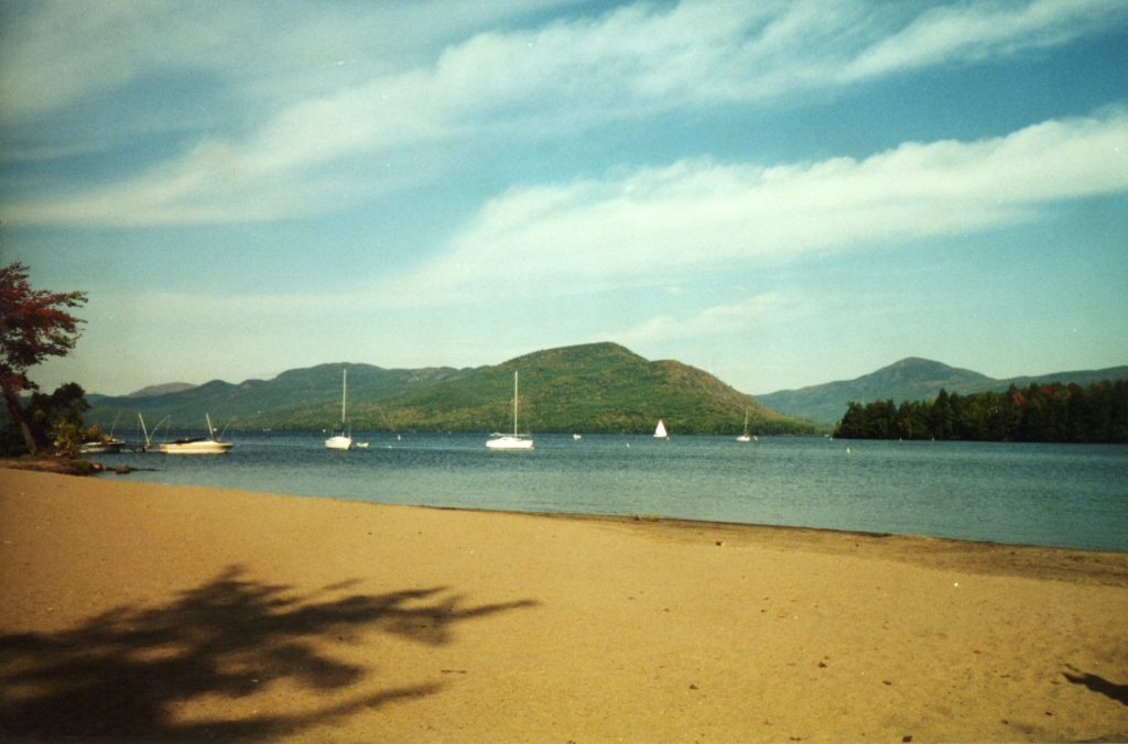 photo shows a beach at lake george in new york, where the mystery spot is located