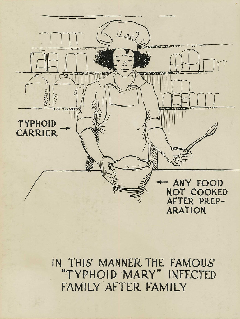 photo shows a poster of typhoid mary that points to mary and says 'typhoid carrier,' then it points to a bowl of food that says 'any food not cooked after preparation,' and at the bottom it says 'in this manner the famous typhoid mary infected family after family'