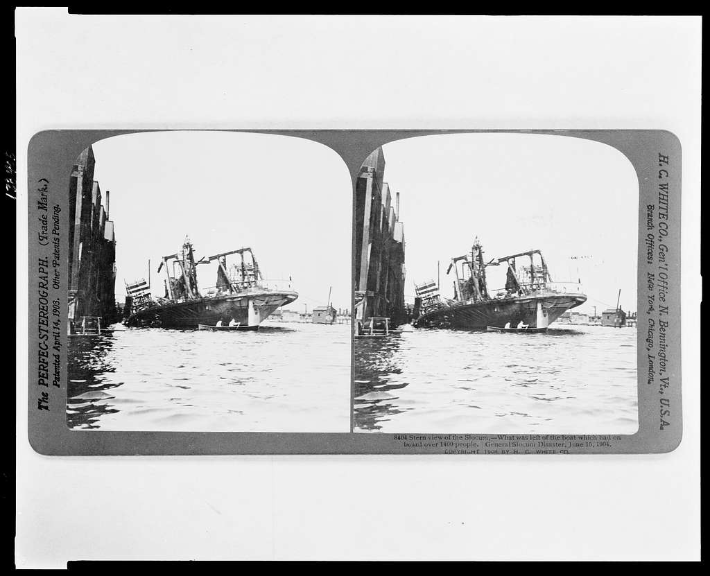 photo is black and white and shows the stern view of the general slocum vessel